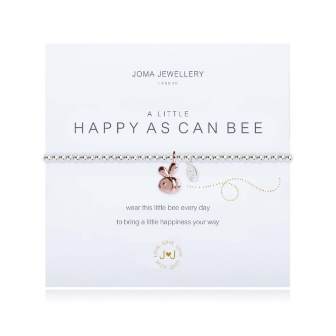 JOMA JEWELLERY a little HAPPY AS CAN BEE - Bracelet - Silver Balls with Rose Gold Bee Charm