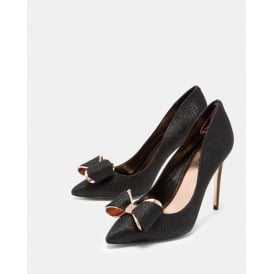 AZELINE BOW DETAIL COURT SHOE BLACK/GOLD