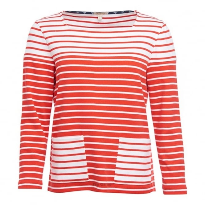 BARBOUR Monreith long sleeve white stripe Top