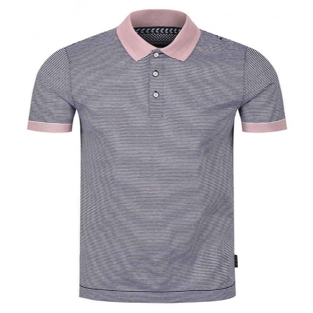 b6bc46166 BEAGLE short sleeve striped ribstart polo shirt Navy