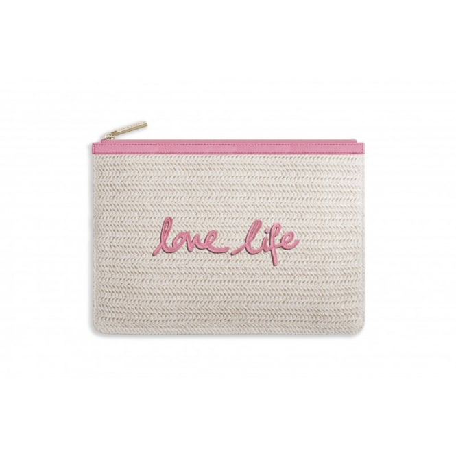 KATIE LOXTON COCO CLUTCH - LARGE STRAW CLUTCH - love life