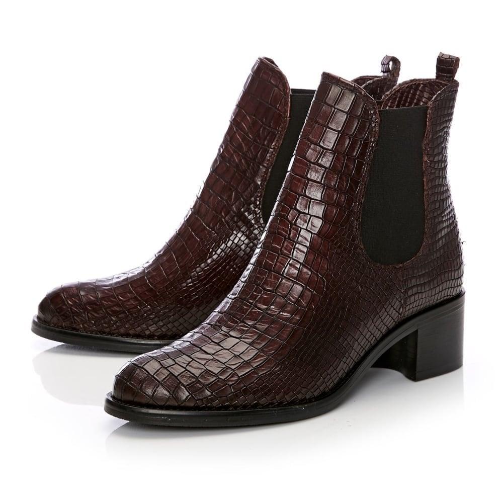 766ad545c7f MODA IN PELLE Colino Low Block Heel Chelsea Boot Burgundy