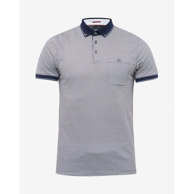 TED BAKER ENDERS short sleeve all over print polo t-shirt