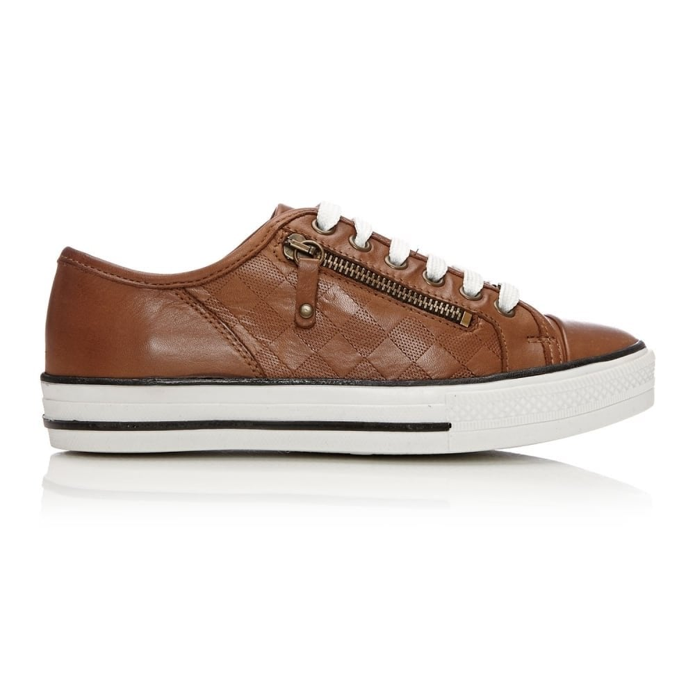 Fiarli Lace Up Casual Emboss Trainer Tan