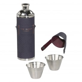 Hip Flask with shot cups Blue Cadet