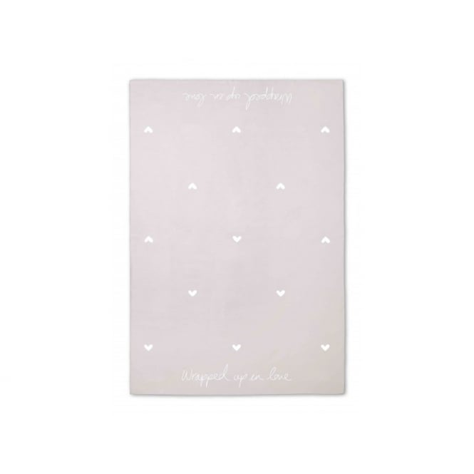 KATIE LOXTON HOME BLANKET - WRAPPED UP IN LOVE - biscuit beige - 160x130cm