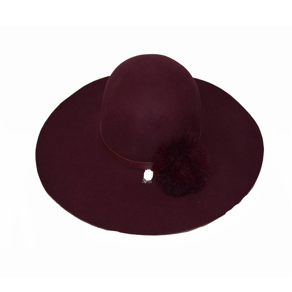 TED BAKER JANNET Feather Pom Floppy Hat Purple - Ladies from ... 47b39c172ea