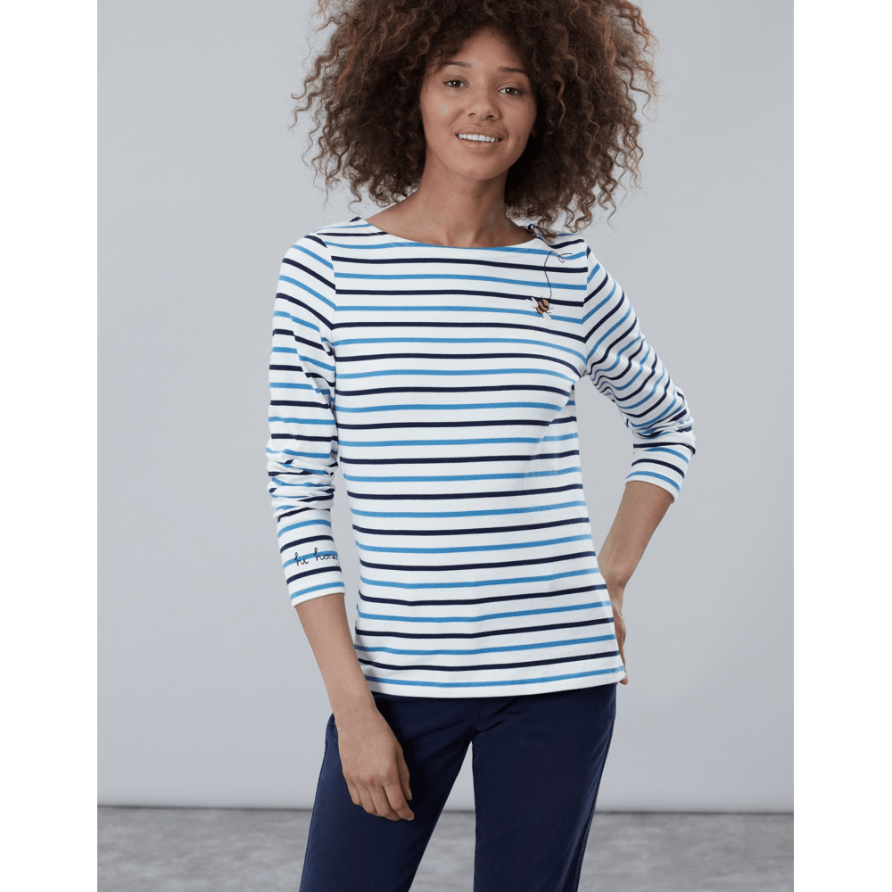 Joules Harbour Printed Jersey Top Blue Stripe 25/% OFF
