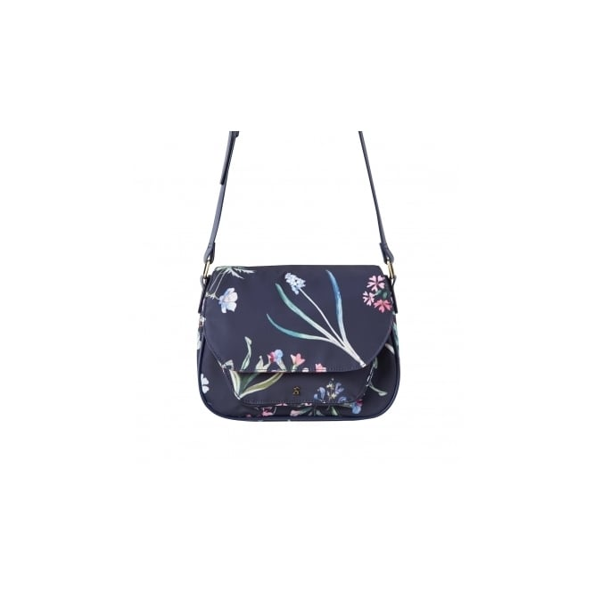 JOULES navy darby printed saddle bag