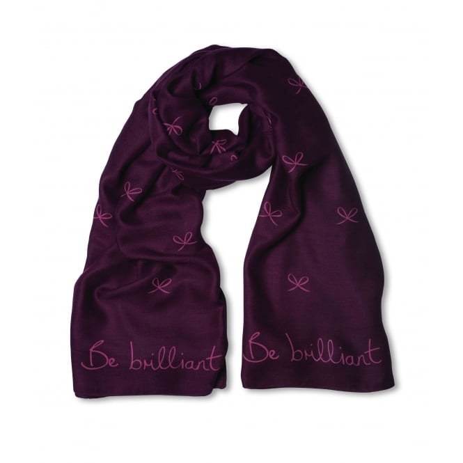 KATIE LOXTON Sentiment scarf - be brilliant - purple berry