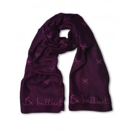 Sentiment scarf - be brilliant - purple berry