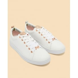 KELLEI leather tennis trainers white