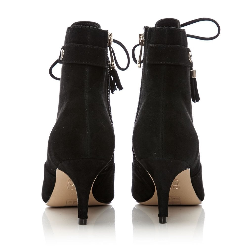 Laria Lace Up Low Pointed Ankle Boot Black