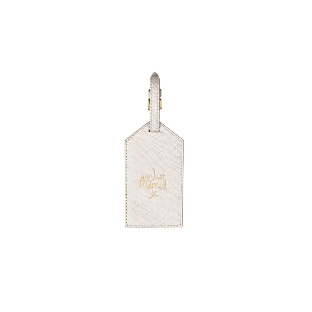 c1c640adbe0 KATIE LOXTON LUGGAGE TAG - JUST MARRIED - metallic white - 10x6cm ...