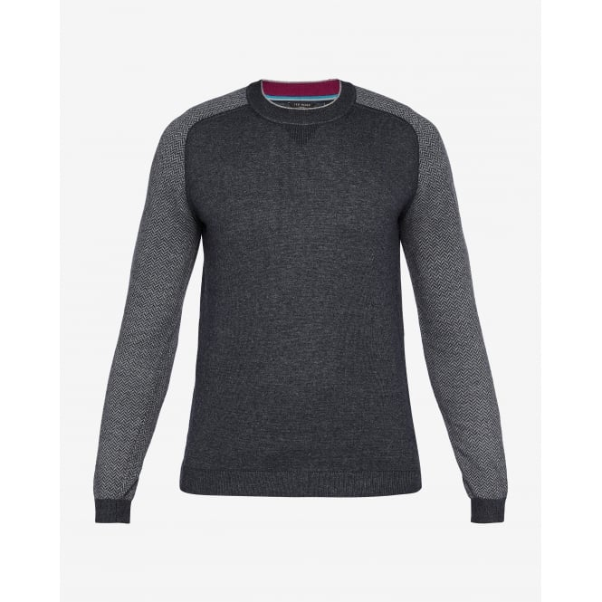 TED BAKER PEPMINT long sleeve herringbone detail crew jumper