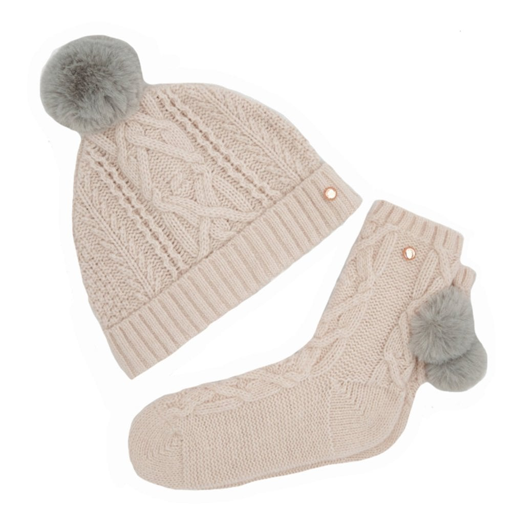 b9a0a7c37aa23 RAISA Knitted Pom Hat And Sock Set Pink