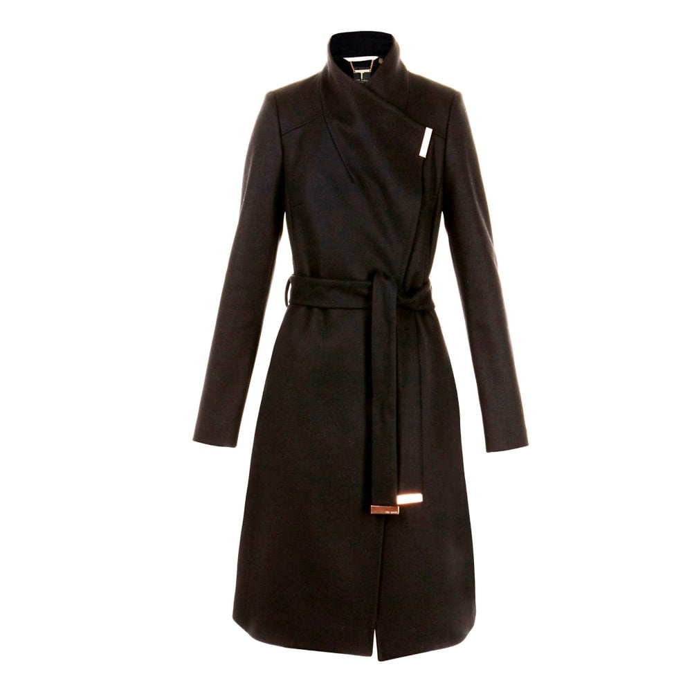 05ae60b6c SANDRA Long Wool Wrap Coat Black