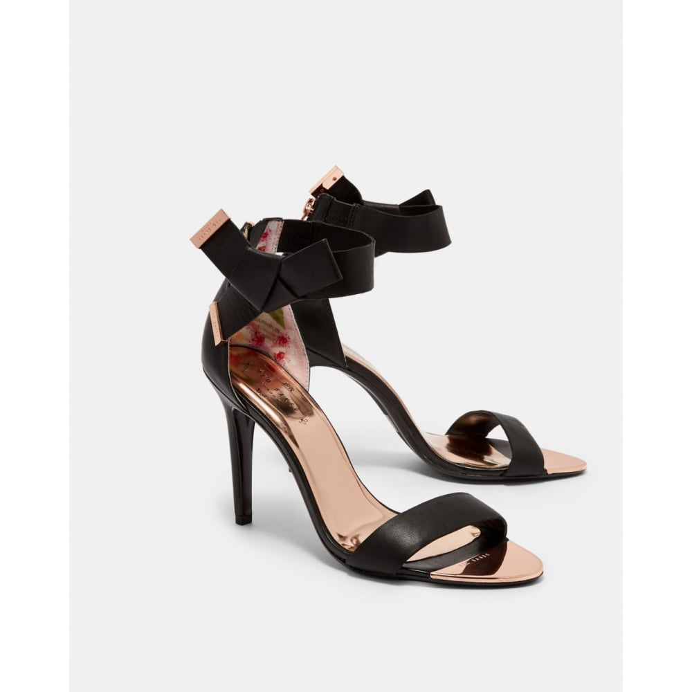 5892d52ac214cb TED BAKER SAPHRUN knotted bow leather sandals black - Ladies from ...