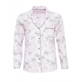 Sienna Woven Long Sleeve Butterfly Print Pyjama Top