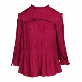 dd72ed87c Ted Baker AIRLIE Pleated Smocking High Neck Top Pink