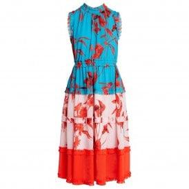 fa34b23f3 Ted Baker CAMELIS Fantasia Tiered Midi Dress Blue