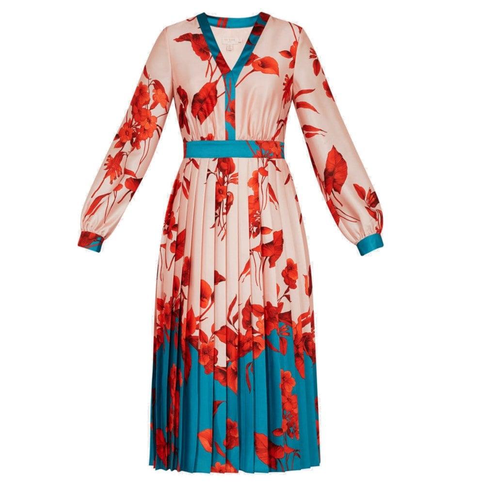 b28ae0306f8108 Ted Baker KAROLYN Fantasia Bow Neck Midi Dress Pink