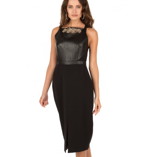 TED BAKER KIMLA Leather panel dress