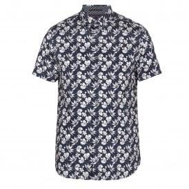 b1cfc2dafd Ted Baker KOALR Statement Print Short Sleeve Shirt Navy