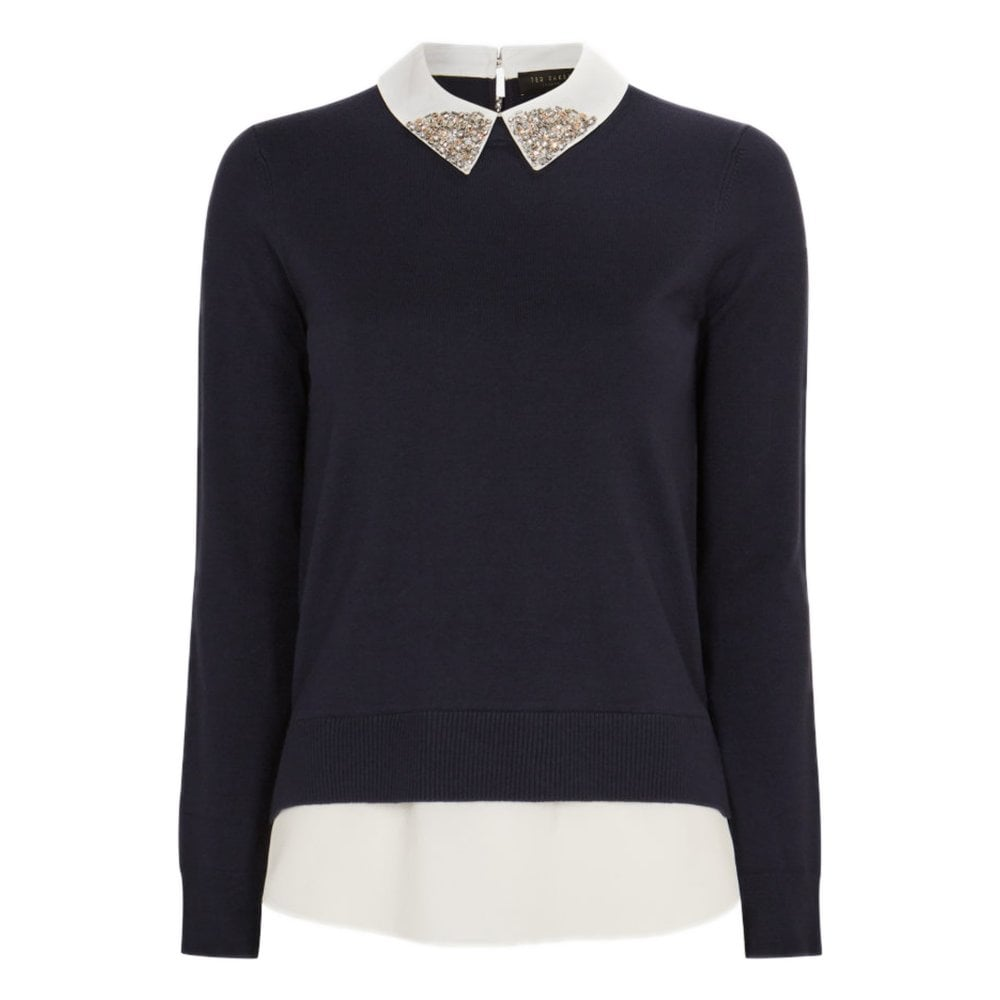 Ted Baker LIAYLO Sparkle collar mock layer jumper