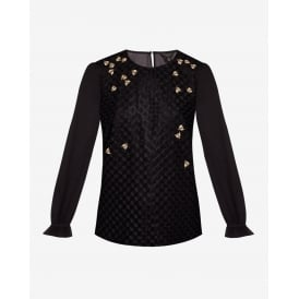 LUNAAH queen bee embellished long sleeve top