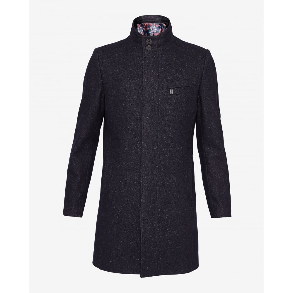 1494a32ccd62 TED BAKER MARVIN wool funnel neck overcoat - Mens from Sandersons ...