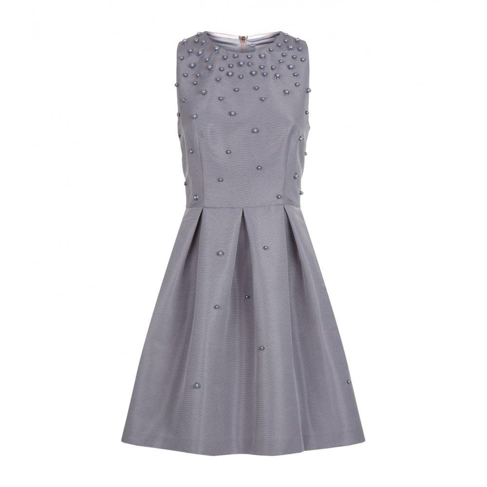 7c050626 Ted Baker MILLIEA Pearl Embellished Skater Dress Grey