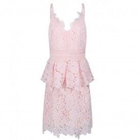 3701d598cc426 Ted Baker NADIIE Lace Detail Peplum Dress Pink SALE