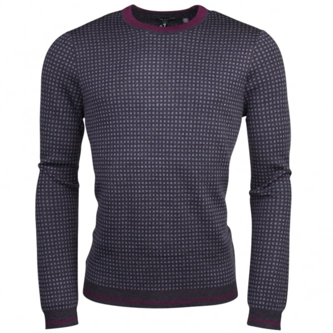 TED BAKER PARVINE long sleeve square jacquard crew jumper