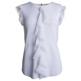 YSABEL frill detail knitted top