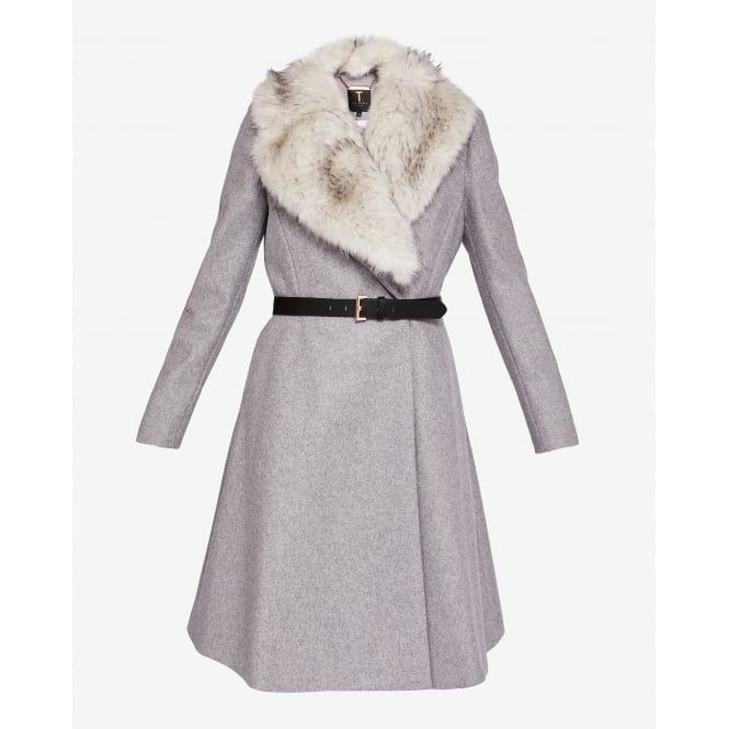 TED BAKER NARNIA faux fur collar coat with belt
