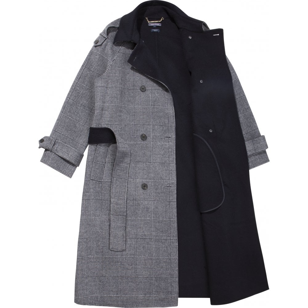 cdf5a86d16 Alison Wool Blend Check Trench Coat Grey