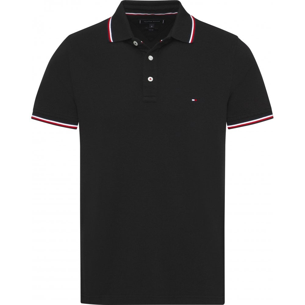 4aabaac8 Tommy Hilfiger Tipped Slim Polo Black
