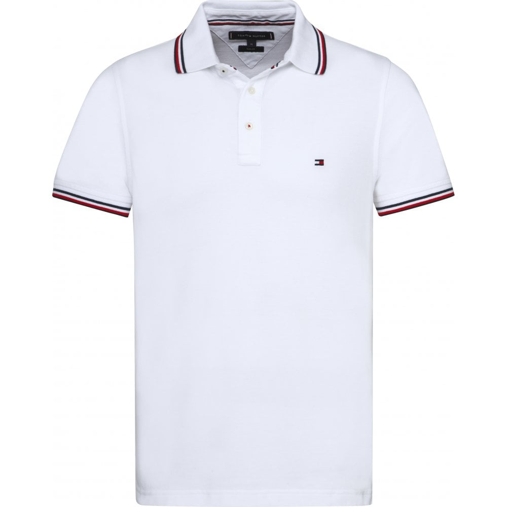 11c9653179e9aa TOMMY HILFIGER Tommy Tipped Slim Polo Shirt 100 WHITE - Mens from ...
