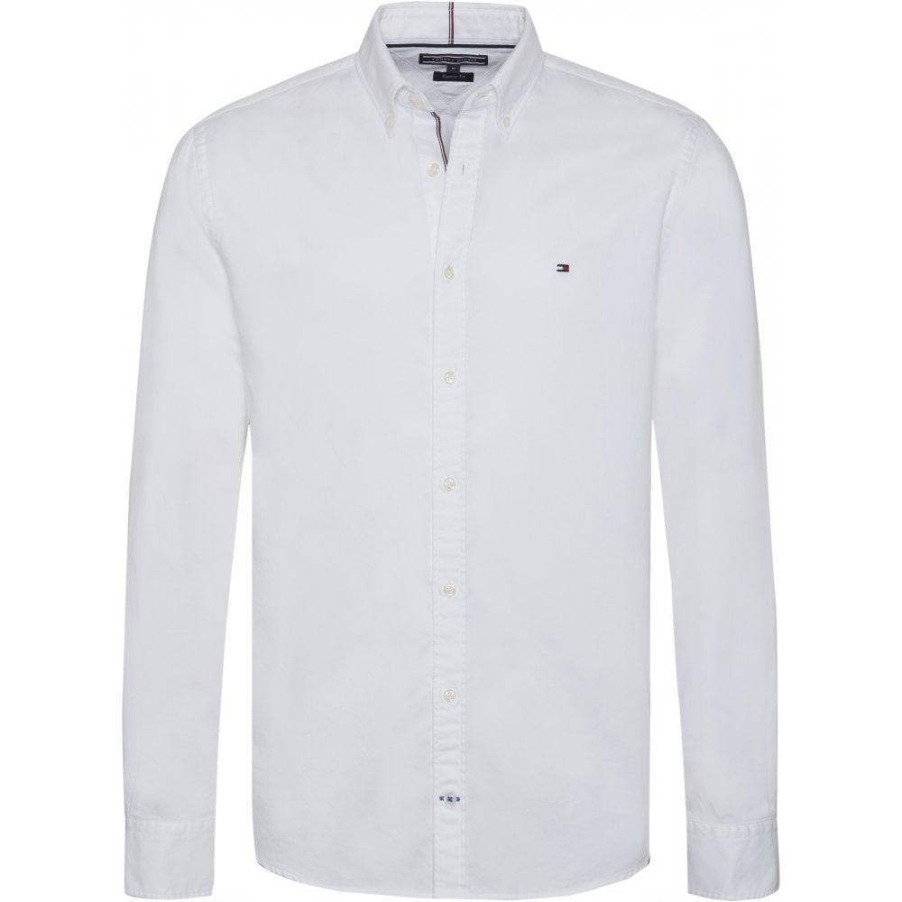 491721c0 TOMMY HILFIGER Two Tone Dobby Shirt White - Mens from Sandersons ...