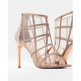 XSTAL METALLIC MESH PEEP TOE BOOTS ROSE GOLD