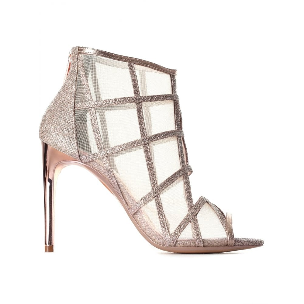 c522d05058a994 TED BAKER XSTAL METALLIC MESH PEEP TOE BOOTS ROSE GOLD - Ladies from ...